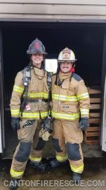 FF/EMT Chase Alexander with Assistant Chief Matt Kroeger.